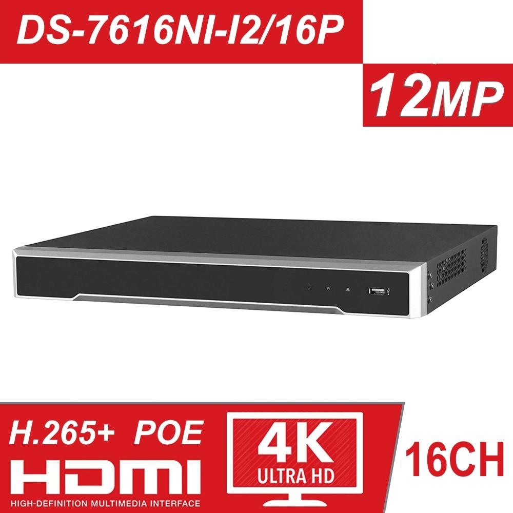 Original HIK H.265 4 K NVR 16CH DS-7616NI-I2/16 P POE NVR Profissional para CCTV Sistema de Câmera HDMI VGA plug & Play NVR