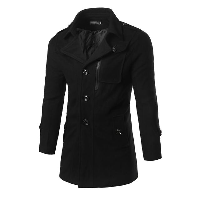 Mens Casacos De Lã 2016 Marca de Moda de Inverno Homens Jaqueta de Trincheira Preto Casaco Longo Macho Negócio Trincheira Quente Outwear F07