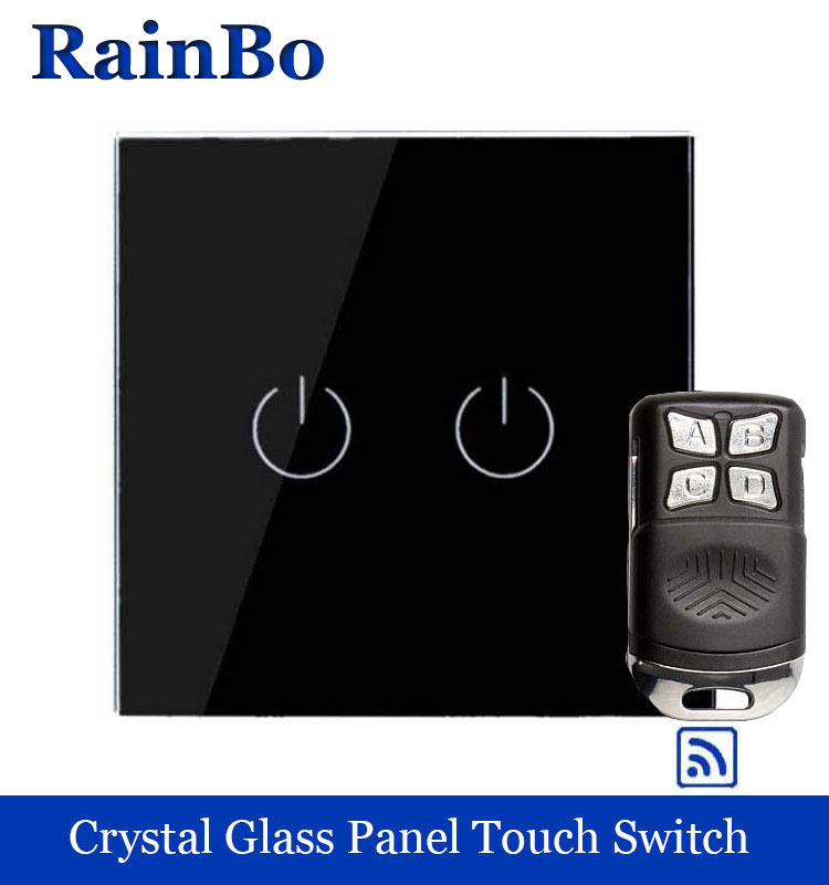 rainbo Crystal Glass Panel Switch EU Remote control Wall Switch welaik Touch Switch Light Switch 2gang1way LED lamp A1923BR01 remote switch wall light free shipping 3 gang 1 way remote control touch switch eu standard gold crystal glass panel led