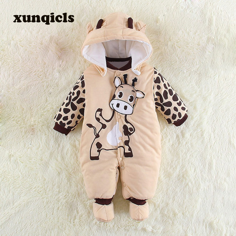 xunqicls New Baby Toddler Rompers Winter Boys Cartoon Jumpsuits Baby Girls Warm Outfits Hooded Body Suit Clothing cotton baby rompers set newborn clothes baby clothing boys girls cartoon jumpsuits long sleeve overalls coveralls autumn winter