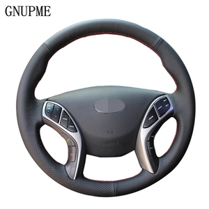 GNUPME Hand-stitched Soft Artificial Leather Car Steering Wheel Cover for Hyundai Elantra 2011-2018 Avante i30 2012-2018
