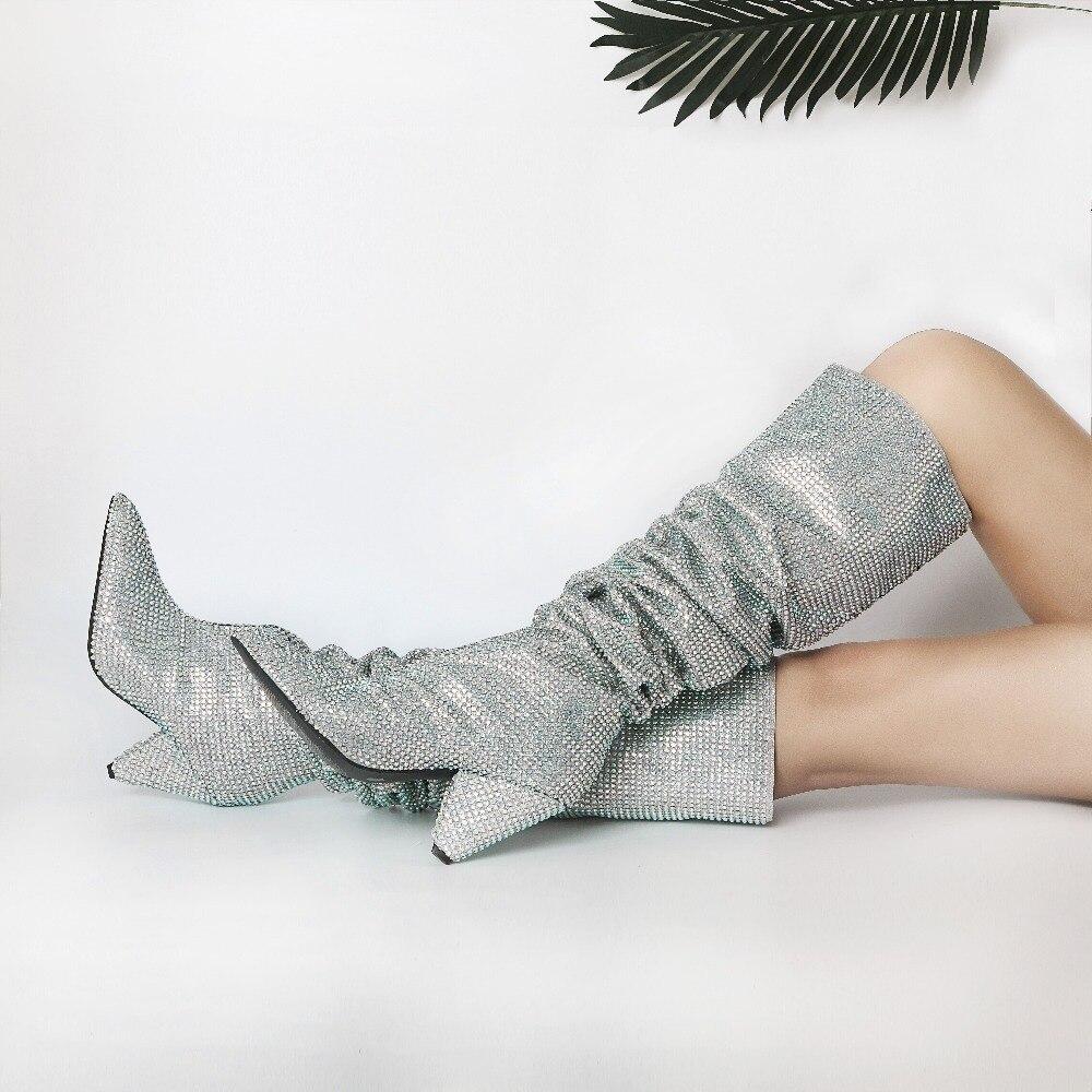 2017 Nouvelle mode semaine celebrity cristal bottes de luxe bling de spike talons cuissardes bottes pointu bateaux longs piste défilé chaussures