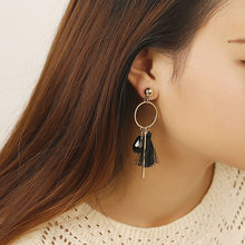 2018 New Long Tassel Earrings For Women Black Red Crystal Long Vintage Earrings Ethnic Statement Geometric Brincos For Gift(China)
