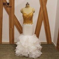 HCWBridal נפלא בת ים לבן שמלת הערב 2018 זהב חרוזים אפליקציות רצועת ספגטי ארוך שמלות שמלות ערב ערבית