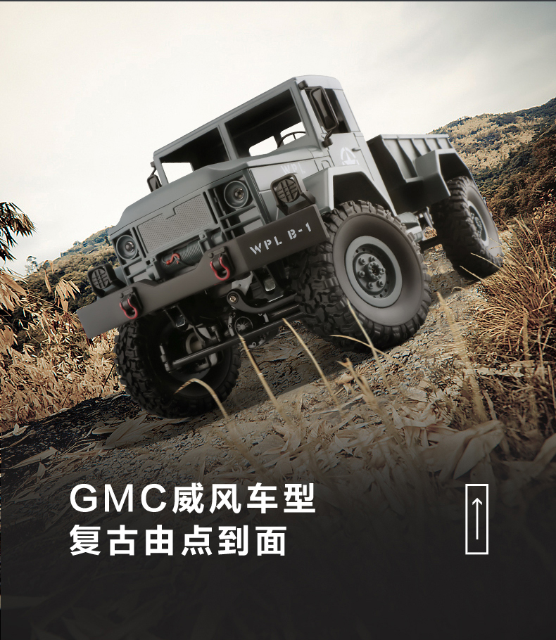 1:16 4WD DIY Off road RC Military Truck KIT with Head