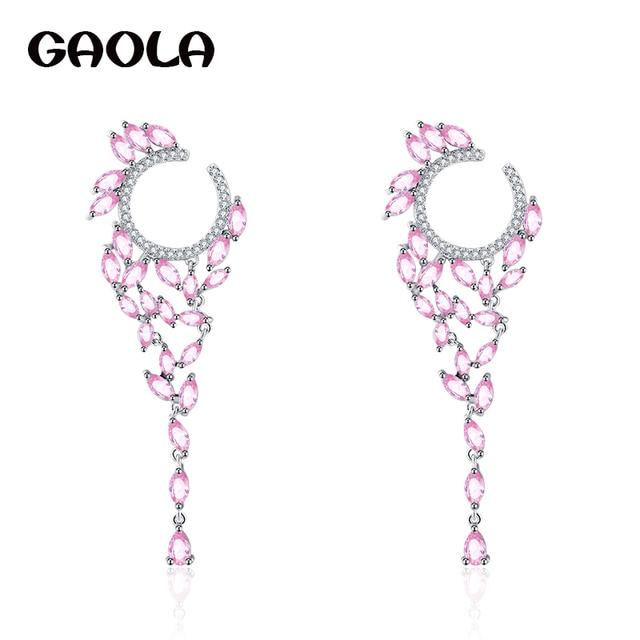 Gaola New Elegant Earrings Horse Eye Cz Flower Shape Drop Brincos White Gold Color Jewelry