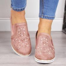 2019 nuevos zapatos casuales de verano para mujer, zapatos de lona con cuña, sandalias de mujer con diamantes de imitación transpirables de talla grande bombas