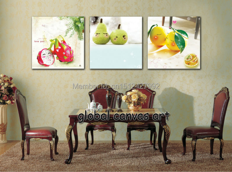 Free Shipping 3 Panel Wall Art Modern Home Decoration Abstract Fresh Cherry HD Print Oil Painting