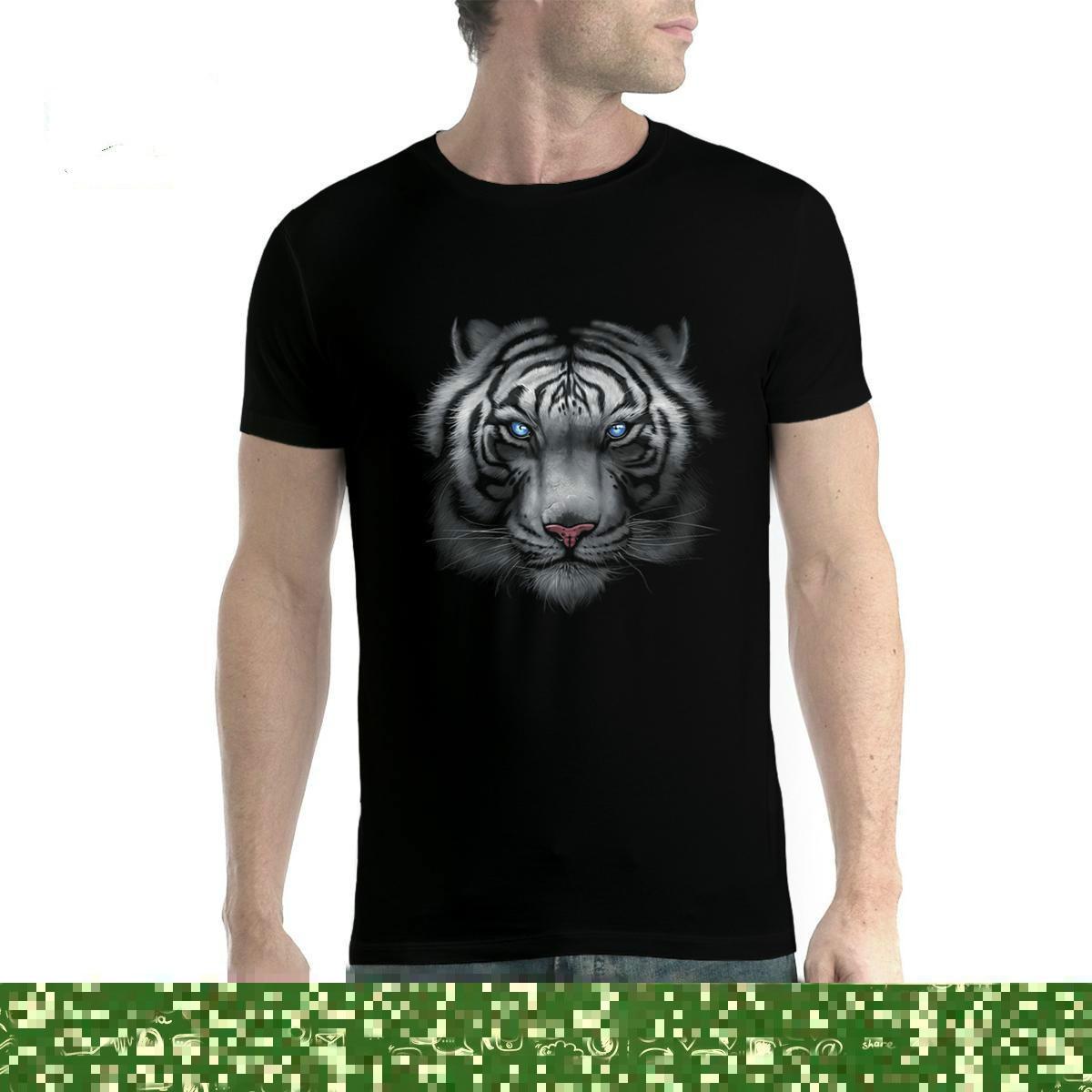 e64a182f818cc Белый тигр животные синие глаза Мужская футболка XS-5XL Новинка - b ...