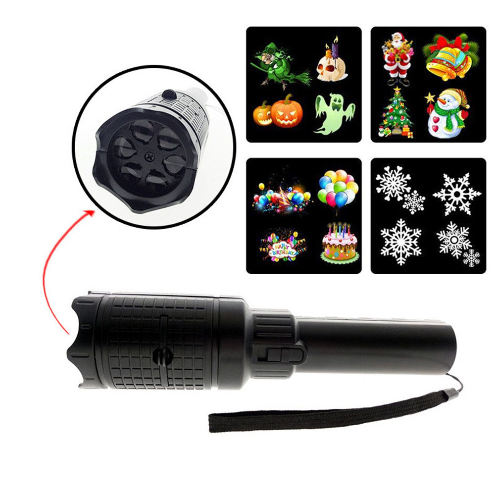 3*AAA Battery powered Led projector Flashlight 4 slides Christmas decoration Portable lamp for Party Halloween New Year|Stage Lighting Effect| |  - title=