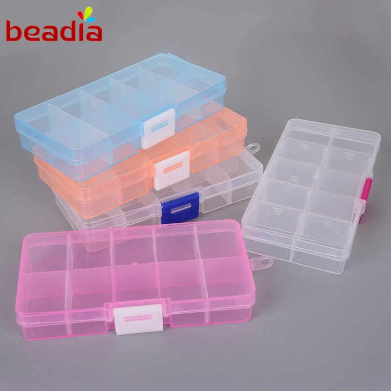 ホット12.8*6.5*2.2センチメートル調節可能なボックス10細胞5色透明色分割可能プラスチック収納diyボックス用ジュエリー所見