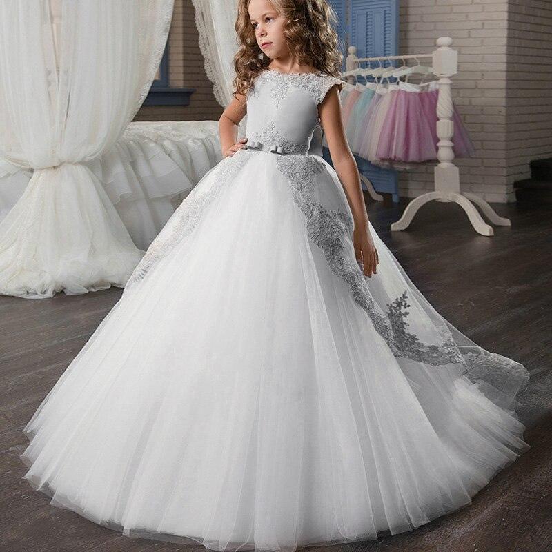 Новое кружевное свадебное платье цветок галстук-бабочка для девочки теннис вечерние банкет вечерние шоу Бальное Платье vestidos de fiesta - Цвет: gray