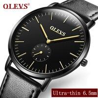 Men Watches Luxury Brand OLEVS Ultra Thin Full Genuine Leather Clock Male Waterproof Casual Sport Watch