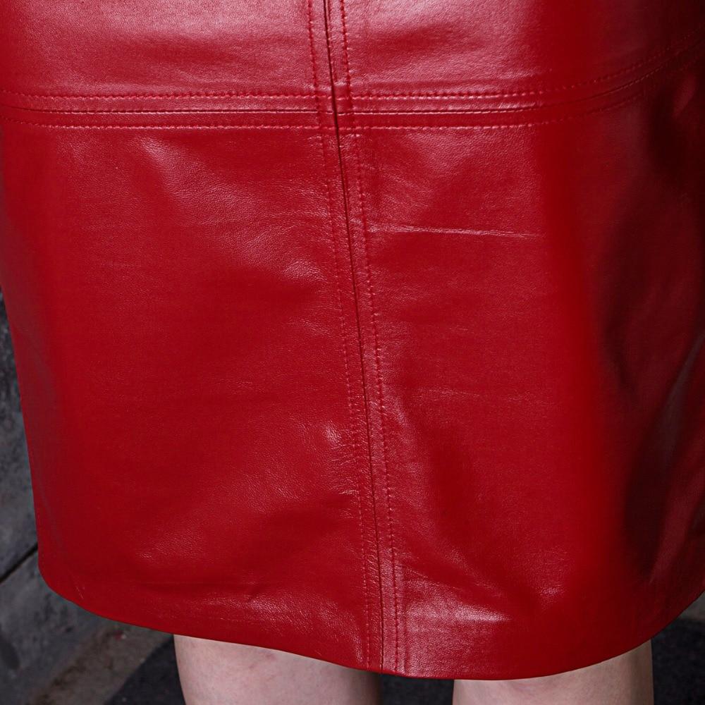 RYS625 Autumn Fashion Woman Genuine Leather Skirt Female Black/Red Sexy Midi Long Slim High Waist Step Placketing Bust Faldas