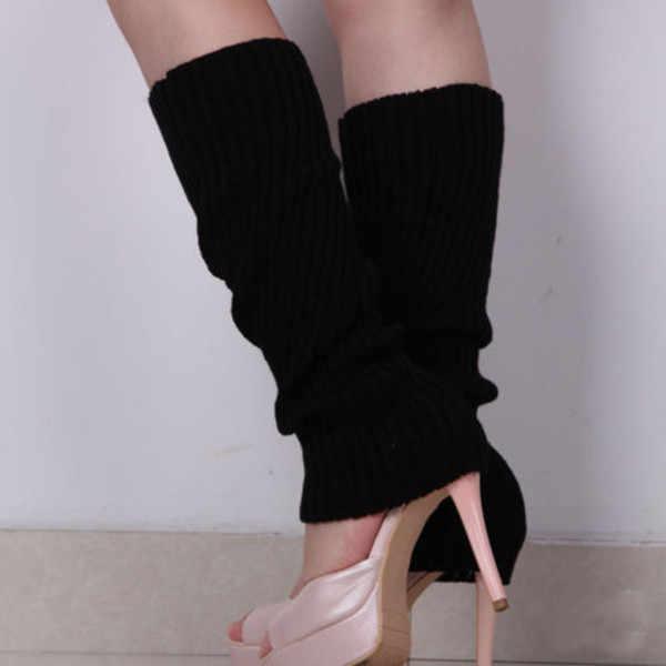 2019 ใหม่เกาหลีแฟชั่นถุงเท้า Kneepad ผู้หญิงสุภาพสตรีที่อบอุ่นถักโครเชต์ฤดูหนาวขาอุ่นถุงเท้า ddeep สีชมพูขายส่ง