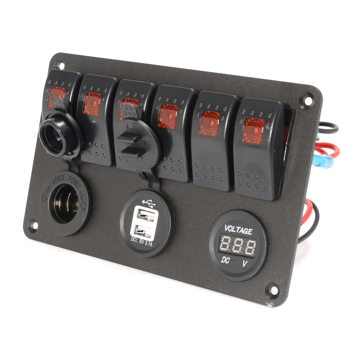 6 Gang 5 Pin 12V 24V LED Rocker Switch Panel Circuit Breaker Charger ...