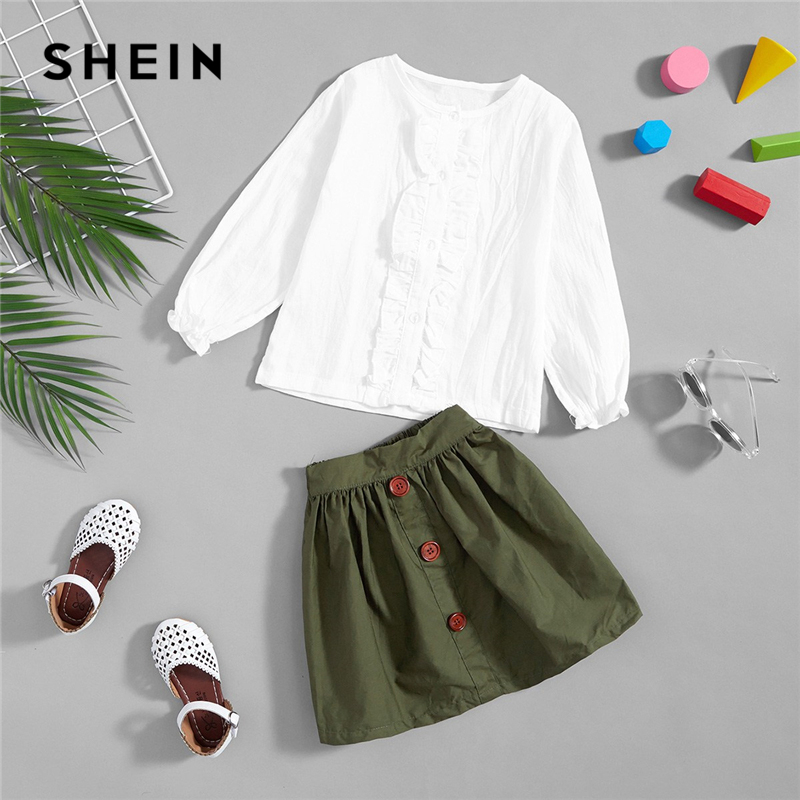 SHEIN Kiddie Toddler Girls Frill Plain Blouse With Button Pleated Skirt 2019 Spring Long Sleeve Basic Girls Clothing Suit
