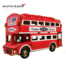 MOMEMO Red Bus 3D Wooden Puzzle Adult Children Assemble Toys 3d Car Model Puzzles for Gifts Home Decorate