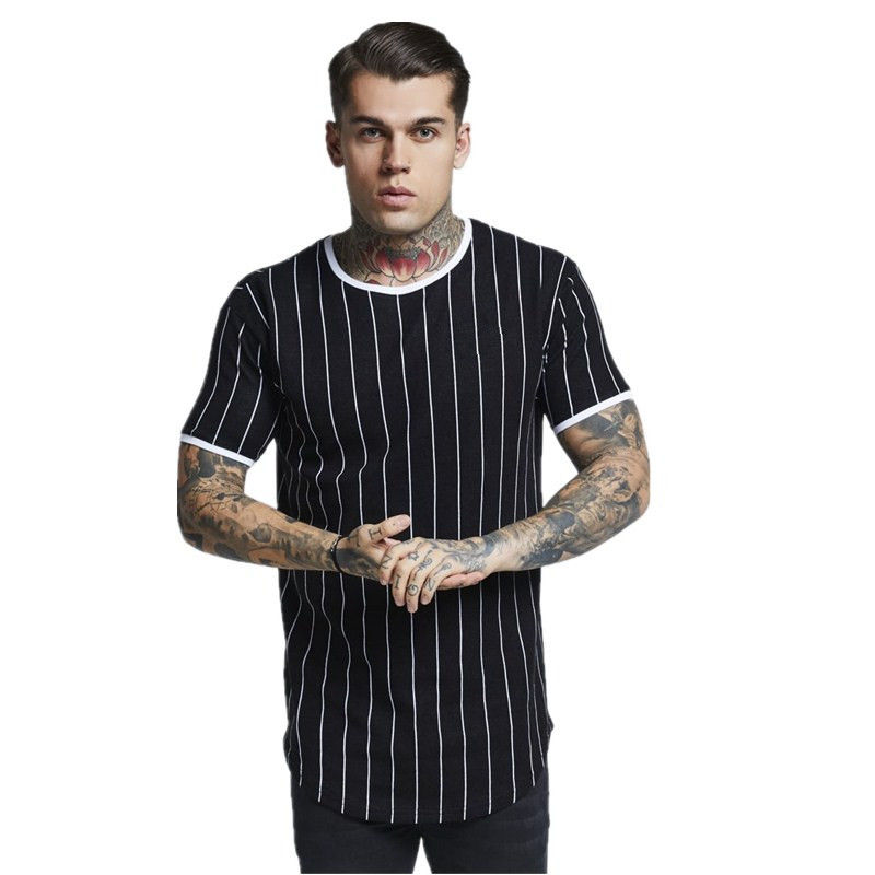 YEMEKE New tshirt Men Stripe printed   T     shirt   Fashion stitching O-neck Short-sleeved Slim Fit Black army green   t     shirt   men