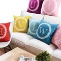 26 letras cojines almohada decorativa almofada Colorido almohada de Algodón de Lino Sofá Throw Pillow Cojín para el Coche Decoración Del Hogar