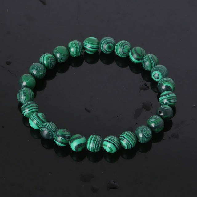 8mm Round Natural Stone Bracelet Bangle for Women Men Tiger Eye Lapis Malachite Beaded Stretch Bracelets Bangles New