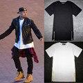 2016 Long Size White Mens Tops T Shirt Short Sleeve Casual T-Shirt With Zipper Hip Hop Sale TShirt Fashion Streetwear  Tees
