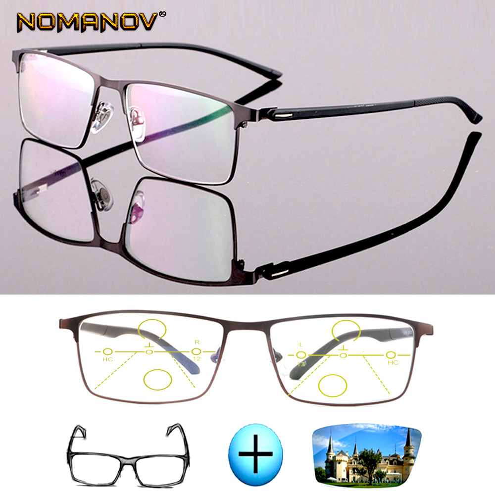 Single Progressive Optical Glasses Photochromic Classic Large Titanium Alloy Full-rim Frame Myopia Short Sight Reading Glasses