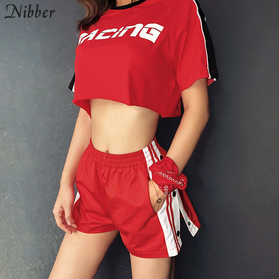 Nibber Summer Fashion Red Black Patchwork Shorts Women Casual Home Wear 2019 New Stripe Split Design Ladies Street Active Shorts