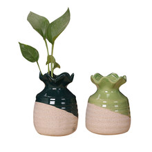 Household Decor Tabletop Unique Flower Figurines Miniatures Ceramic Flower Vases For Decoration Craft Water Plant Vases Craft(China)