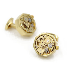 Letpon Movable Watch Movement Cufflinks for mens polygon Gold color Steampunk Gear Watch Mechanism Cuff links Relojes gemelo
