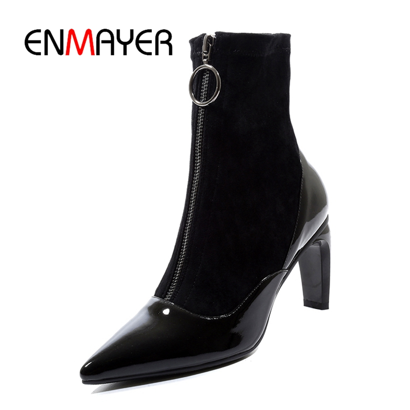 ENMAYER  Pointed Toe  Basic  Zip  Thin Heels  Ankle  Winter Boots Women  Zapatos De Mujer  Shoes Woman Size 34-42 ZYL1806ENMAYER  Pointed Toe  Basic  Zip  Thin Heels  Ankle  Winter Boots Women  Zapatos De Mujer  Shoes Woman Size 34-42 ZYL1806