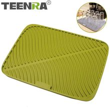 TEENRA Large Silicone Drying Mat Dish Drying Placemat Non-slip Table Placemat Silicone Counter Mat Glass Coaster Kitchen Tools(China)