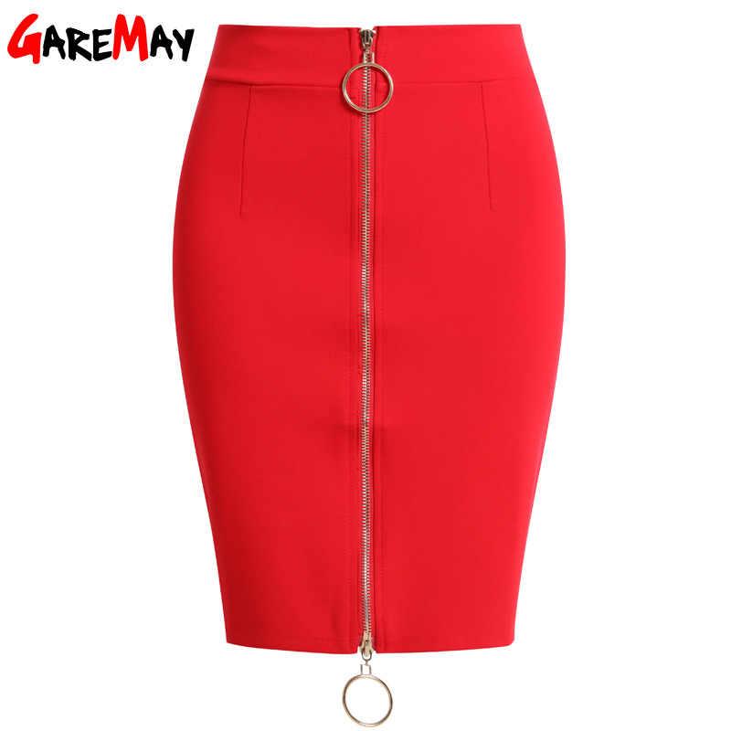 ea4da78f9 ... 2019 summer short Skirts black Womens Elastic High Waist Skirt Plus  Size Zipper Office Pencil Skirt ...