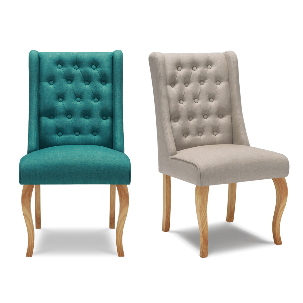 iKayaa Home Dining Chair Tufted Kitchen Chair Linen Fabric Accent ...