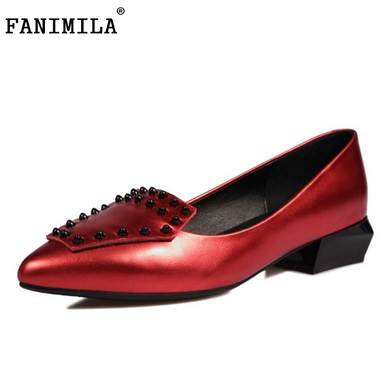 Фото FANIMILA Ladies Real Leather Low Heel Shoes Women Pointed Toe Slip On Rivets Pumps Women Fashion Dating Footwears Size 34-39