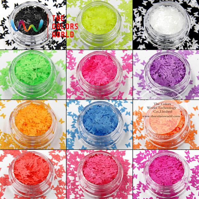 TCFBT-001 olvent resistente Mariposa formas y 12 tipo de Color Neón de color Del Brillo para el arte del clavo, gel de uñas, maquillaje DIY decoración