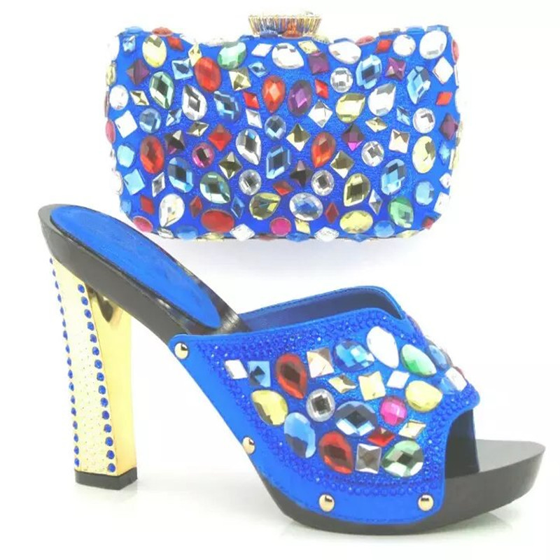ФОТО ROYAL BLUE 2016 New Fashion African Shoes And Matching HandBag Set With Stones,Nice Look Women Shoes And Bags Set For Party
