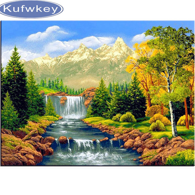 Full 5D Diamond Embroidery natura scenery Waterfall DIY Diamond ...