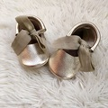 Gold Genuine Leather Baby Moccs Riband Mary Jane Style Baby Shoes