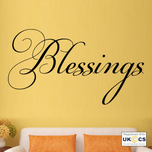Blessings Bible Love Family Kitchen Quote Wall Art Stickers Decals ...