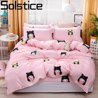 Solstice 3/4 stücke Rosa Cartoon Prinzessin Stil Kinder/kid Bettwäsche Duvet Abdeckung Bettlaken Kissen Bett Abdeckung Bettwäsche bettwäsche