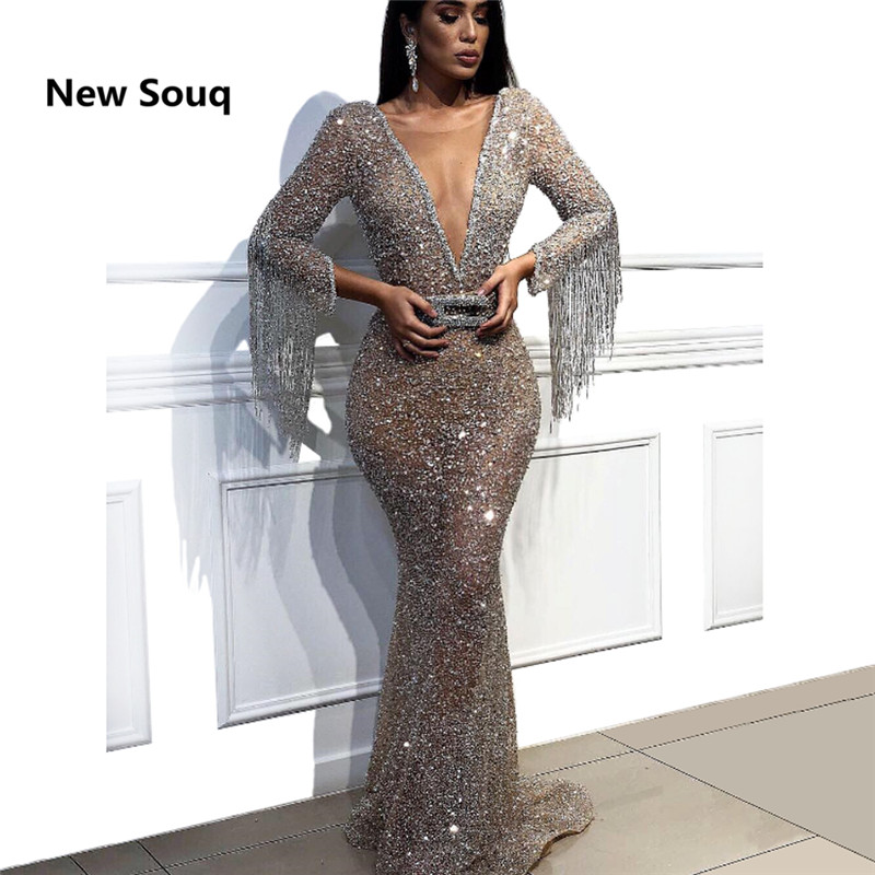 Shining Tassel Sequins Rhinestone Deep V neck Sexy Evening Dresses Middle East Dubai Long Sleeves Prom Dress Evening Gowns