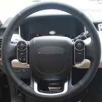 leather hand Top Leather Steering Wheel Hand-stitch on Wrap Cover For Land Rover Range Rover 2014-2015 (1)