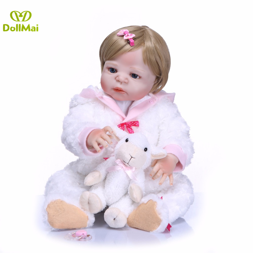 Reborn Blond girl baby doll 2357cm full silicone reborn babies dolls gift bebes reborn corpo de silicone inteiroReborn Blond girl baby doll 2357cm full silicone reborn babies dolls gift bebes reborn corpo de silicone inteiro