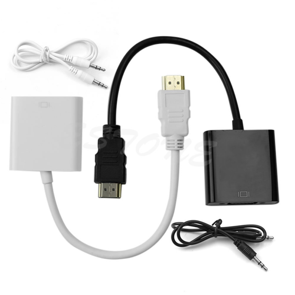HDMI to VGA Adapter Converter For Audio HDMI PC Laptop HD Line DVD Media Player -R179 Drop Shipping