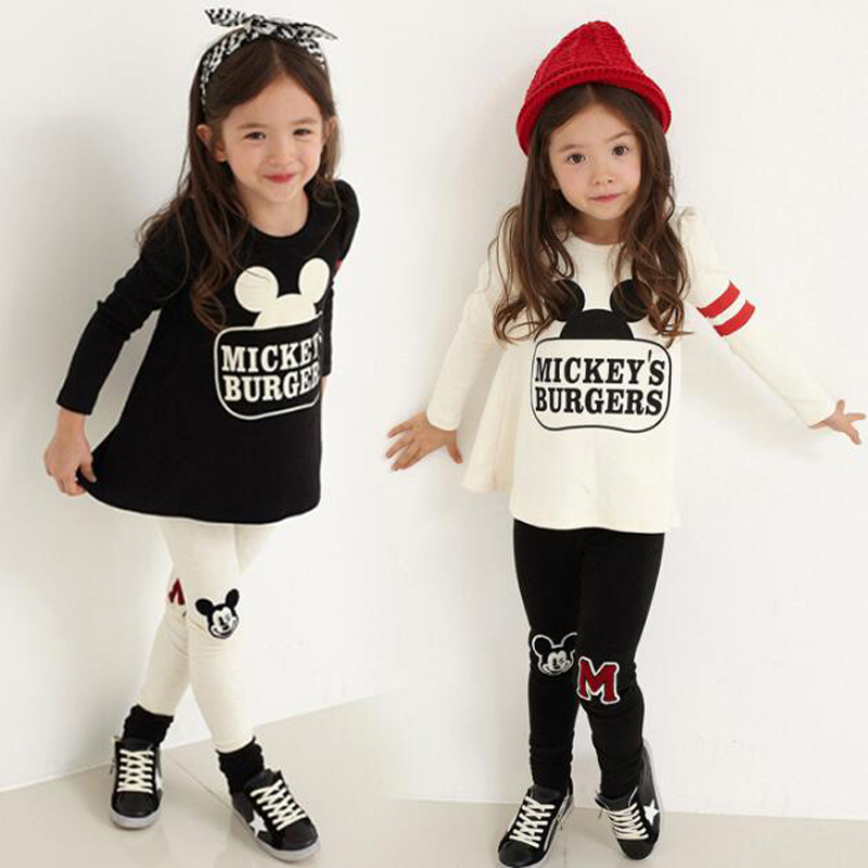 Baby Girls Minnie Clothing Set Kids 2Pcs Long-Sleeve Minnie T-Shirt+Letter Pant Clothes Suit Girls Tracksuit Kids Clothes Sets christmas kid baby boys girls clothing set deer pyjamas nightwear sleepwear long sleeve t shirt pant 2pcs xmas clothing