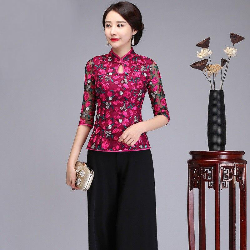 Floral broder 3/4 manches dentelle femmes chinois Mandarin col hauts chemises automne femmes chemises décontracté dames Blouses quotidiennes