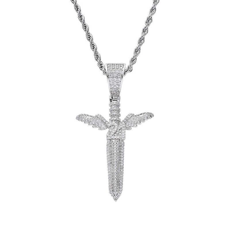 Missfox anioł miecz skrzydła wisiorek naszyjnik z amuletem kreatywny Hip Hop złoty srebrny oryginalny niepowtarzalny łańcuchy dla mężczyzn prezenty biżuteria 2019