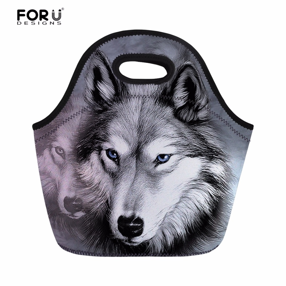 FORUDESIGNS Insulated Thermal Men/Women Lunch Bag Cool Animal Wolf Printed Kids Picnic Meal Lunch Box for Keep Warm Dinner Bags