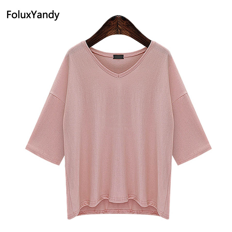 5 Colors Women Summer Tops Tees Plus Size 6 XL Casual V neck Loose Short Sleeve T shirts OMW29 in T Shirts from Women 39 s Clothing